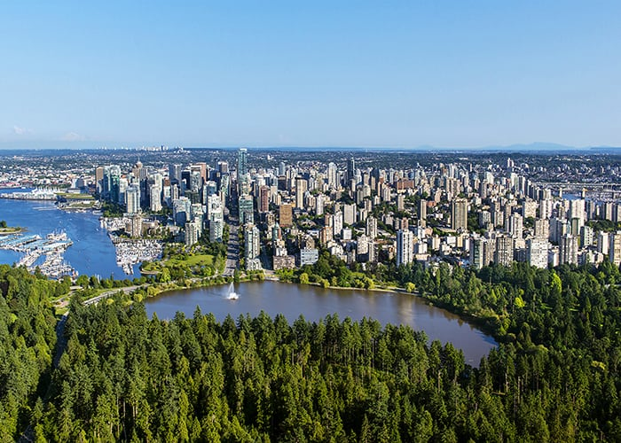 Stanley Park, Lost Lagoon and downtown Vancouver.